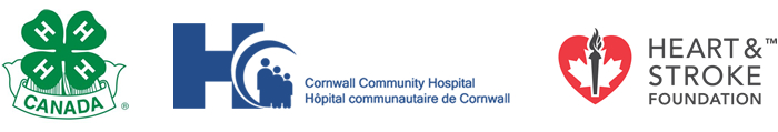 The logo for 4H Canada, Cornwall Community Hospital, and the Heart & Stroke Foundation.